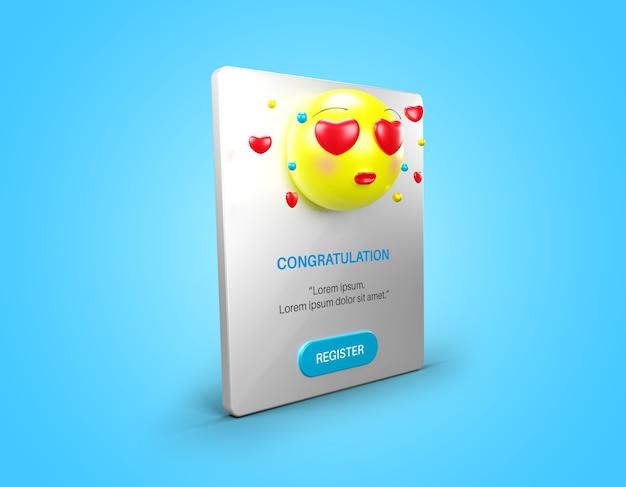 Всплывающая страница уведомления с изолированным макетом любовного смайлика