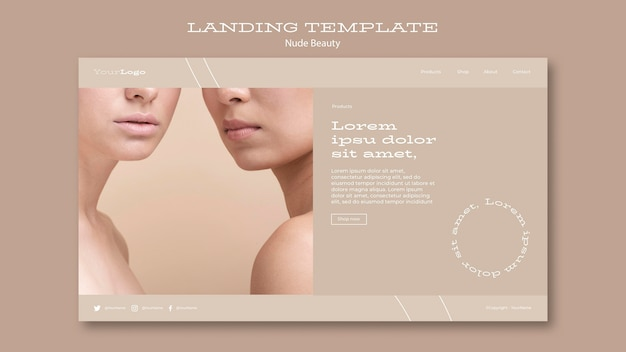 Nude beauty landing page template