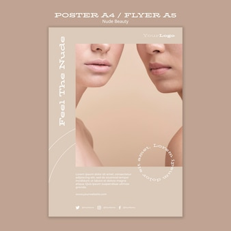 Nude beauty poster template