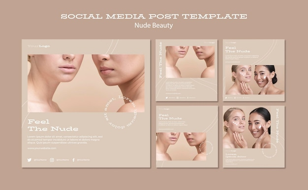 Nude beauty social media post template