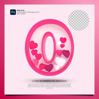 Номер 0 3d визуализация розового цвета со значком любви