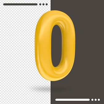 Number 0 3d rendering isolated