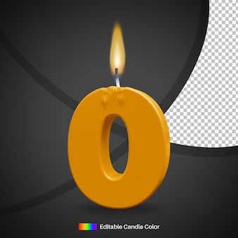 Number 0 birthday candle with fire flame for cake decoration element