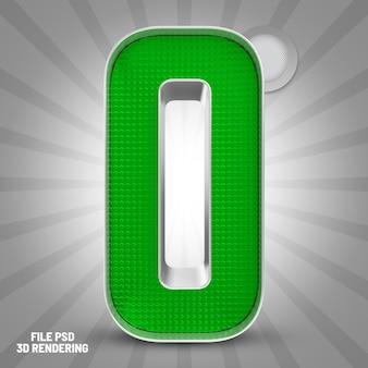 Number 0 green 3d rendering