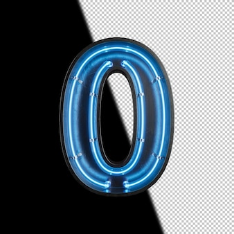 Number 0 made from neon light