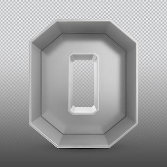 Номер 0 серебряный 3d-рендеринг