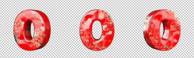 빨간색 긁힌 금속 숫자 컬렉션 집합의 숫자 0(영)입니다. 외딴. 3d 렌더링