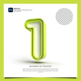 Номер 1 3d визуализации зеленого цвета