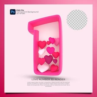Номер 1 3d визуализация розового цвета со значком любви