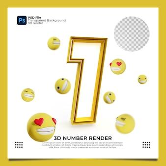 Номер 1 3d render желтого цвета с элементами