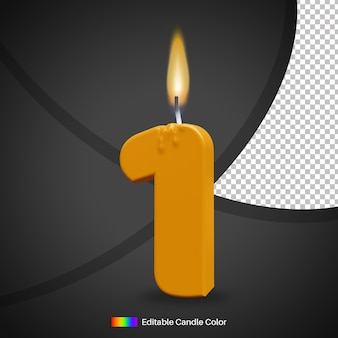 Горящая свеча на день рождения номер 1 с пламенем для элемента украшения торта