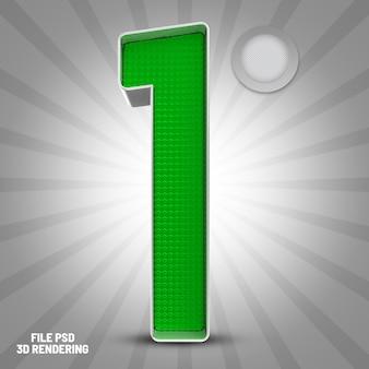 Number 1 green 3d rendering