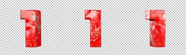 빨간색 긁힌 금속 숫자 컬렉션 집합의 1번(하나). 외딴. 3d 렌더링