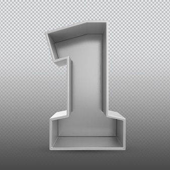 Номер 1 серебряный 3d-рендеринг