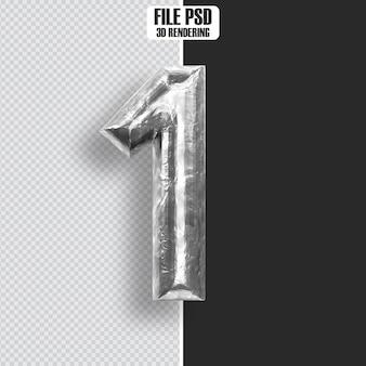 Number 1 steel 3d rendering
