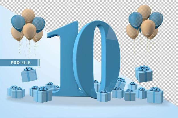 번호 10 생일 축하 파란색 선물 상자 노란색과 파란색 풍선