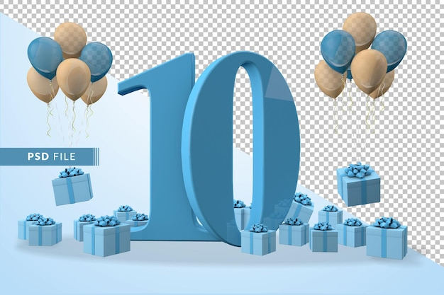Number 10 birthday celebration blue gift box yellow and blue balloons