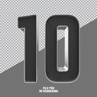 Number 10 black 3d rendering