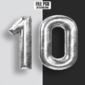 Number 10 steel 3d rendering