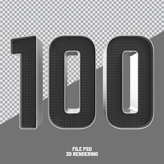 Number 100 black 3d rendering