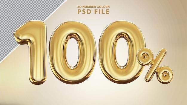 Номер 100% 3d золотой роскошный рендер Premium Psd