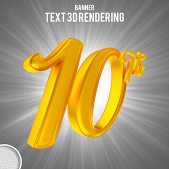Номер 10 золотой 3d-рендеринг баннера