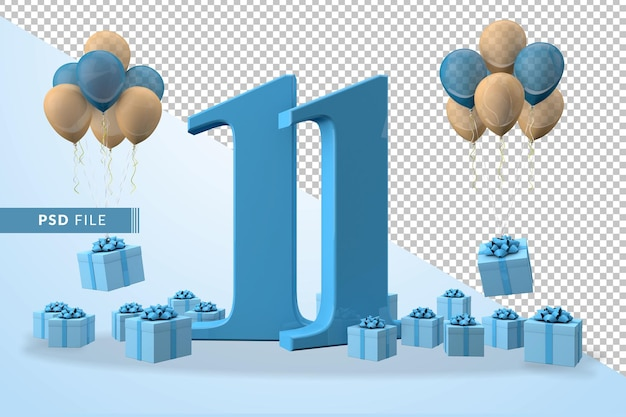 Number 11 birthday celebration blue gift box yellow and blue balloons