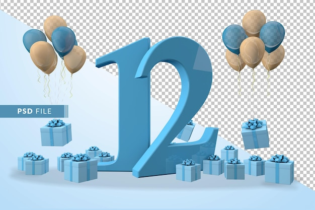 Number 12 birthday celebration blue gift box yellow and blue balloons