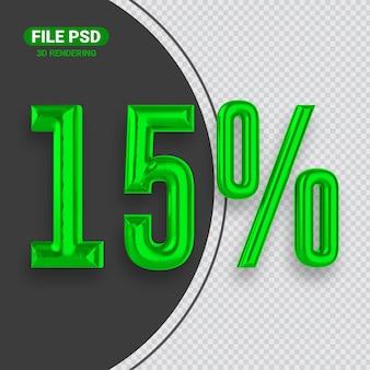Номер 15 зеленый баннер 3d-рендеринга
