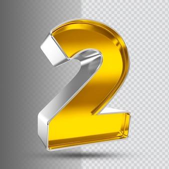 Number 2 3d golden luxury
