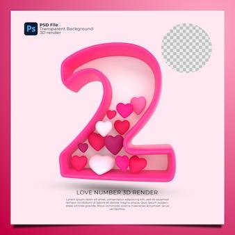 Номер 2 3d визуализация розового цвета со значком любви