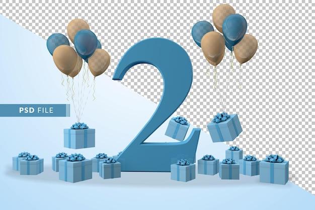번호 2 생일 축하 파란색 선물 상자 노란색과 파란색 풍선