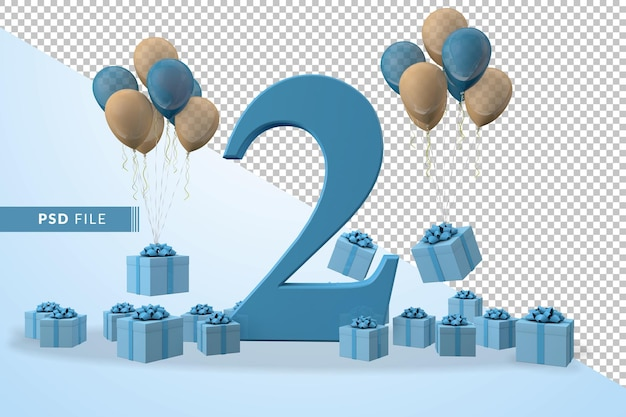 Number 2 birthday celebration blue gift box yellow and blue balloons