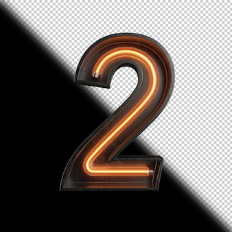 Цифра 2 из неонового света