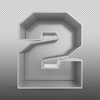 Номер 2 серебряный 3d-рендеринг
