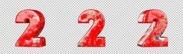 레드 긁힌 금속 숫자 컬렉션 집합의 숫자 2(2). 외딴. 3d 렌더링