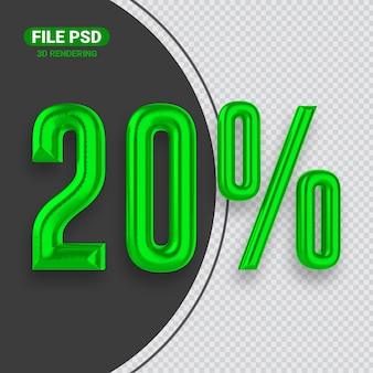 Номер 20 зеленый баннер 3d-рендеринга