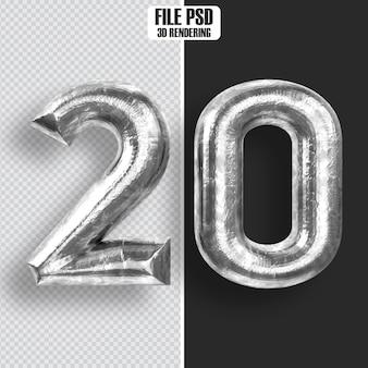Number 20 steel 3d rendering