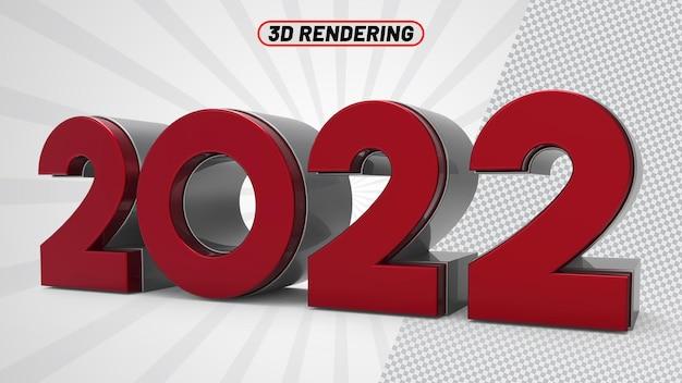 Number 2022 red 3d render