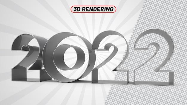 Number2022シルバー3dレンダリング