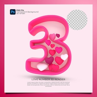 Номер 3 3d визуализация розового цвета со значком любви