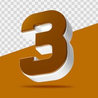 Номер 3 3d-рендеринга изолированные