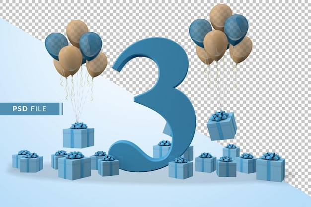 Number 3 birthday celebration blue gift box yellow and blue balloons