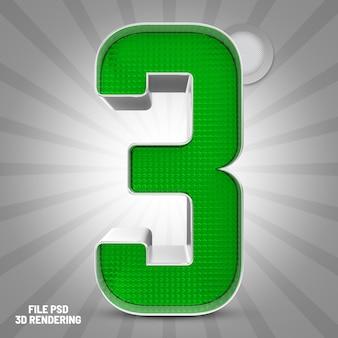 Number 3 green 3d rendering