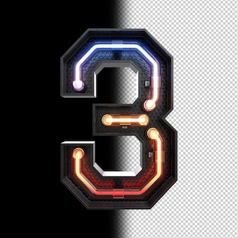Number 3 made from neon light