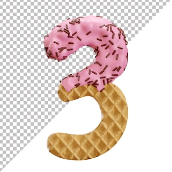Number 3 made of ice cream waffle with chocolate sprinkles in 3d style