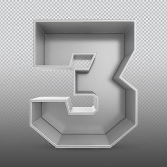 Номер 3 серебряный 3d-рендеринг