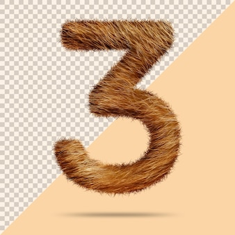 Number 3 with realistic 3d fur