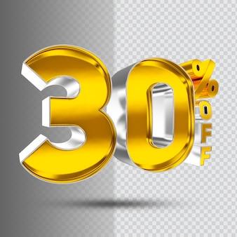 Number 30 3d golden luxury