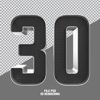 Number 30 black 3d rendering